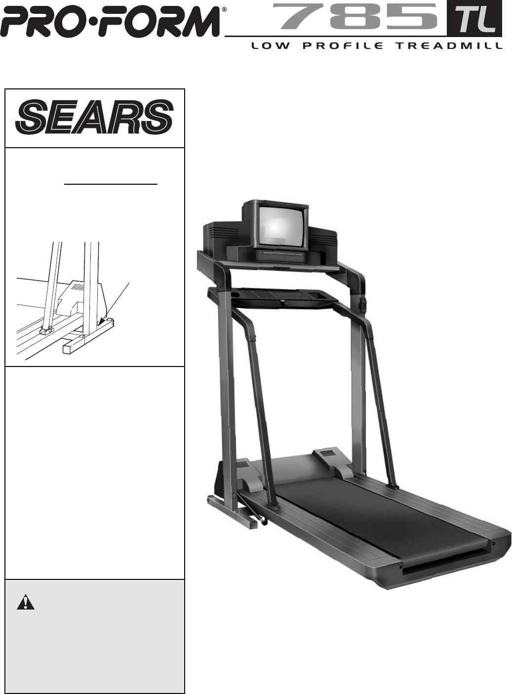proform treadmill 785 tl user guide manualsonline com rh kitchen manualsonline com ProForm XP 615 Treadmill Manual Proform Treadmill Parts Manual