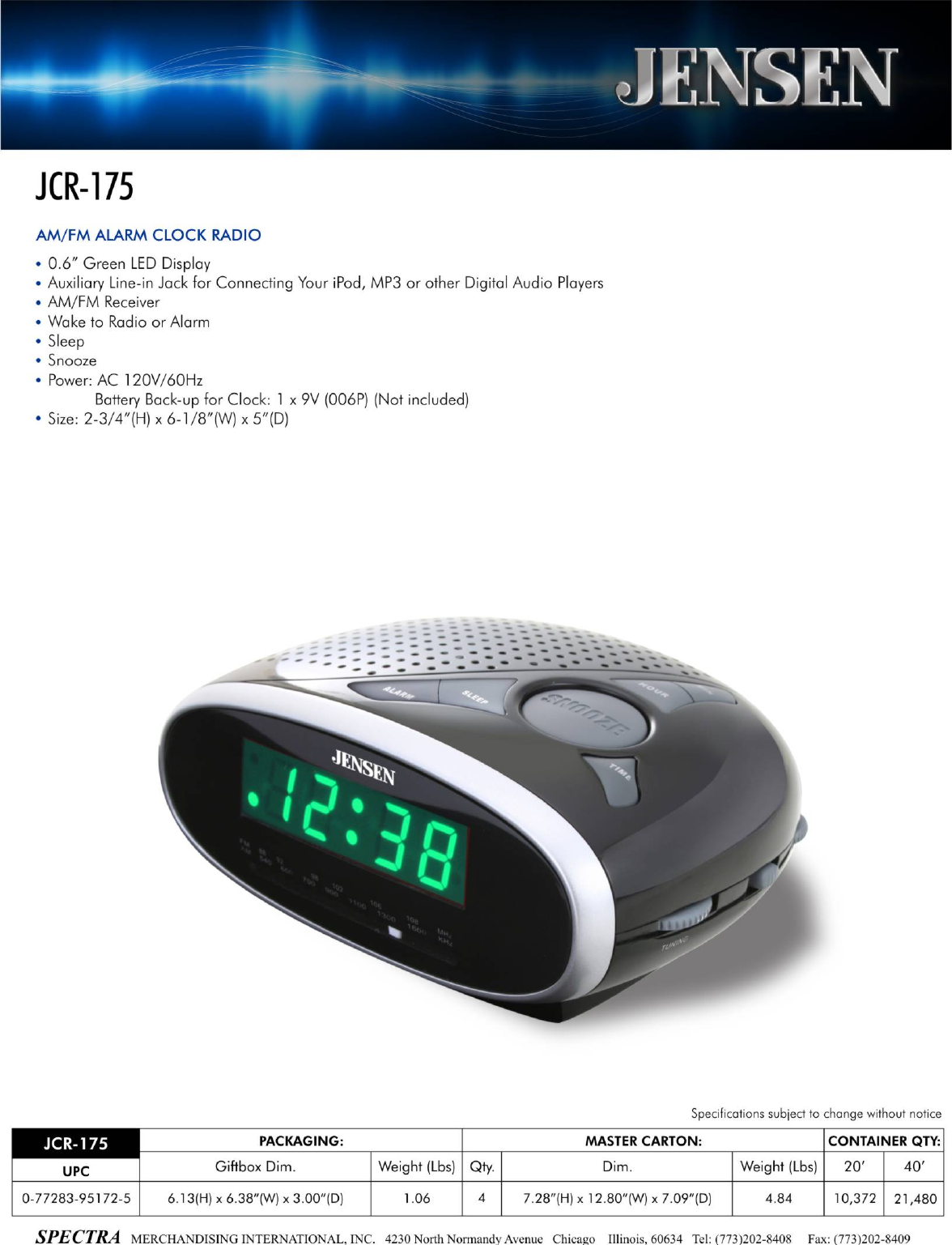 jensen clock radio jcr175 user guide. Black Bedroom Furniture Sets. Home Design Ideas