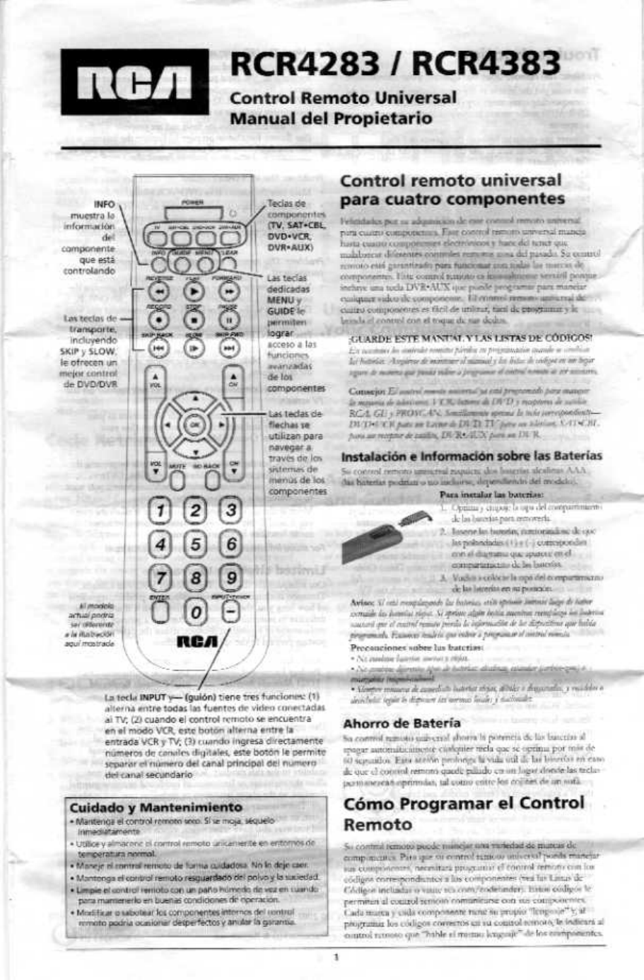 RCA RCRPS06GR Universal Remote Owner's manual PDF View ...