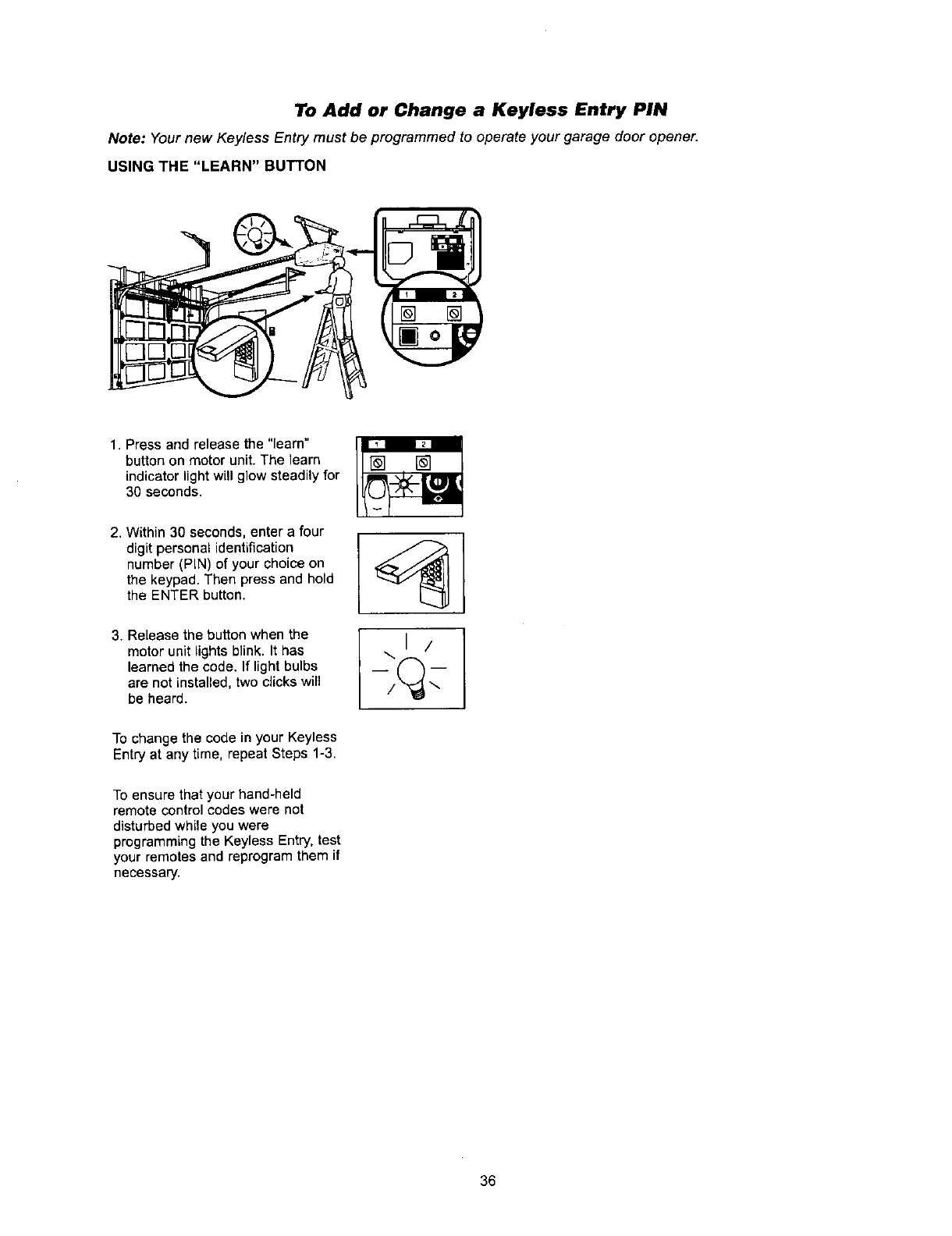 Page 36 Of Sears Garage Door Opener 13953960srt User Guide