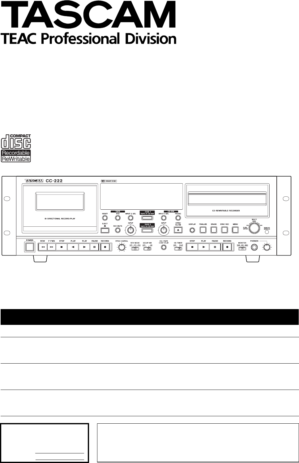 Tascam cc 222 service manual tascam cc 222mkii specifications array sony cassette player cc 222 user guide manualsonline com rh audio manualsonline com fandeluxe Images