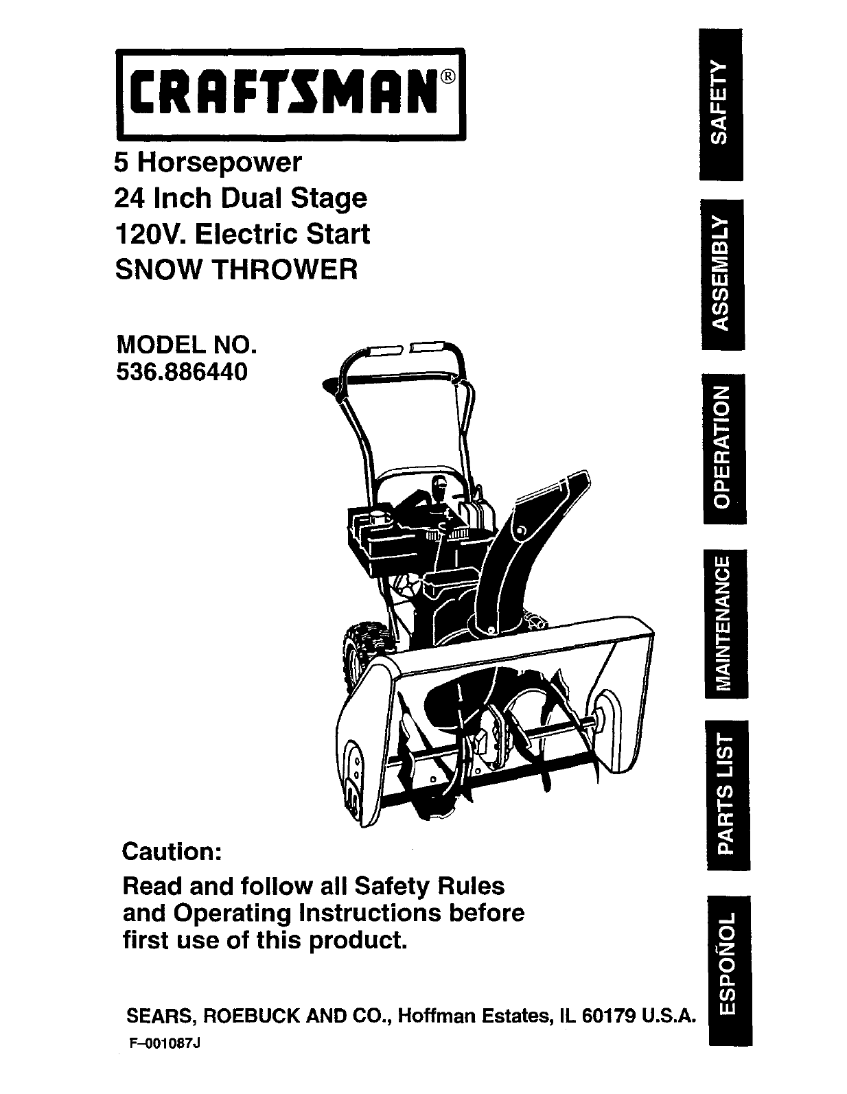 craftsman snow blower 536 88644 user guide manualsonline com rh lawnandgarden manualsonline com Craftsman Snowblower with Tracks Craftsman 536 Snowblower Parts