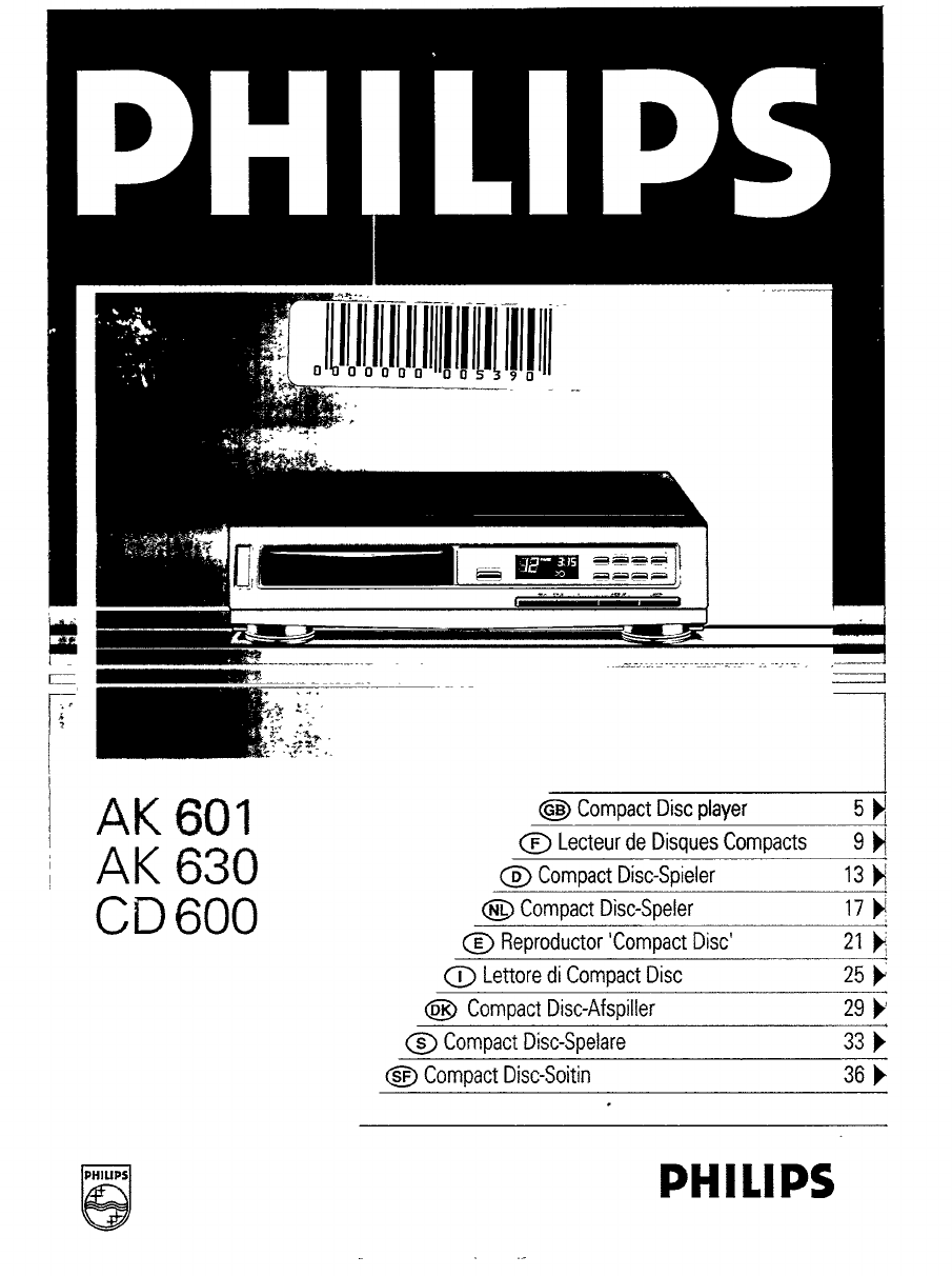 philips cd player ak 630 user guide manualsonline com rh audio manualsonline com Philips DVD Player Manual Philips TV User Manual