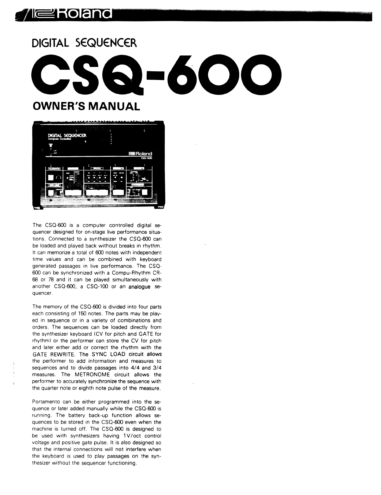 Roland CSQ-500 Recording Equipment User Manual