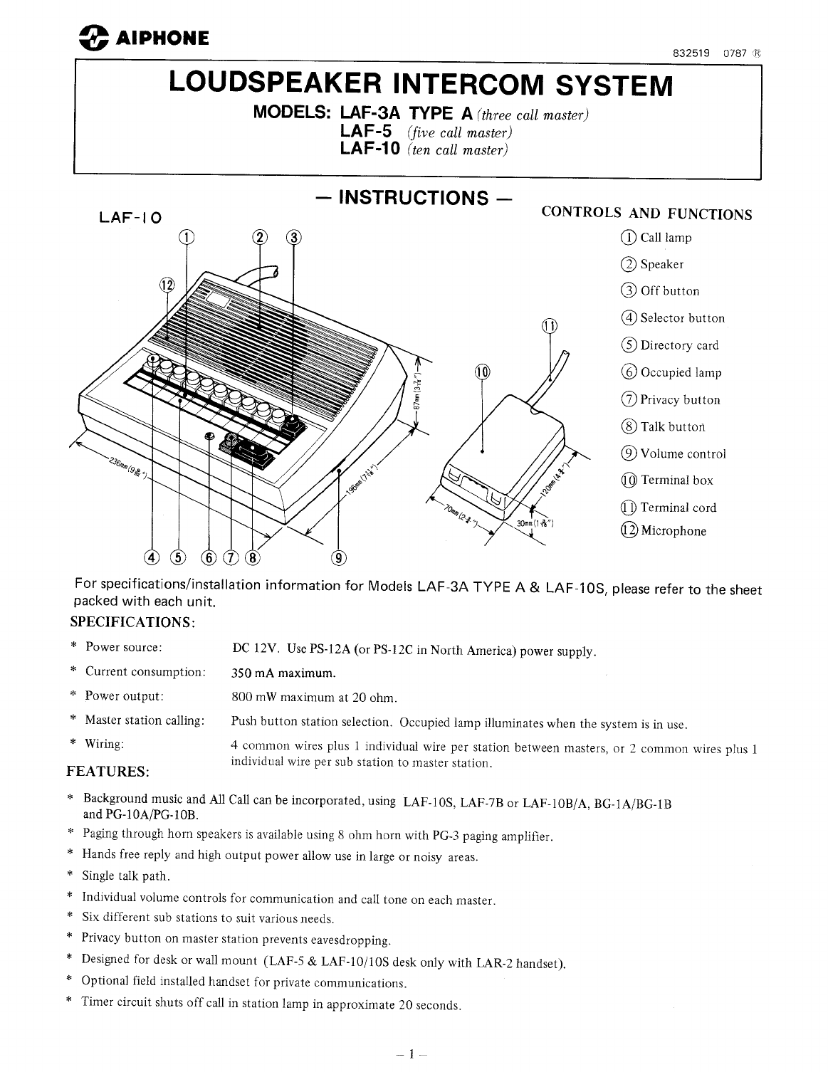 Aiphone Intercom System Laf 5 User Guide Manualsonlinecom Wiring Diagram And Installation Next