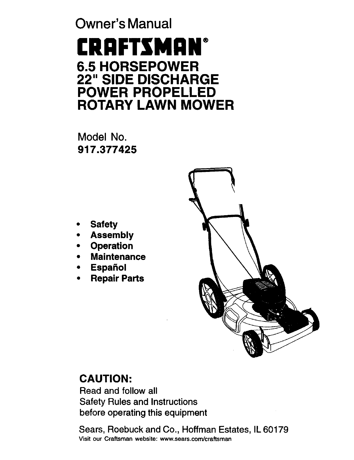 Sears Craftsman 65 Hp Mower Manual Parts Diagram And List For Walkbehindlawnmower Lawn 917 377425 User Guide Manualsonline Com Rh Audio 6 Self Propelled
