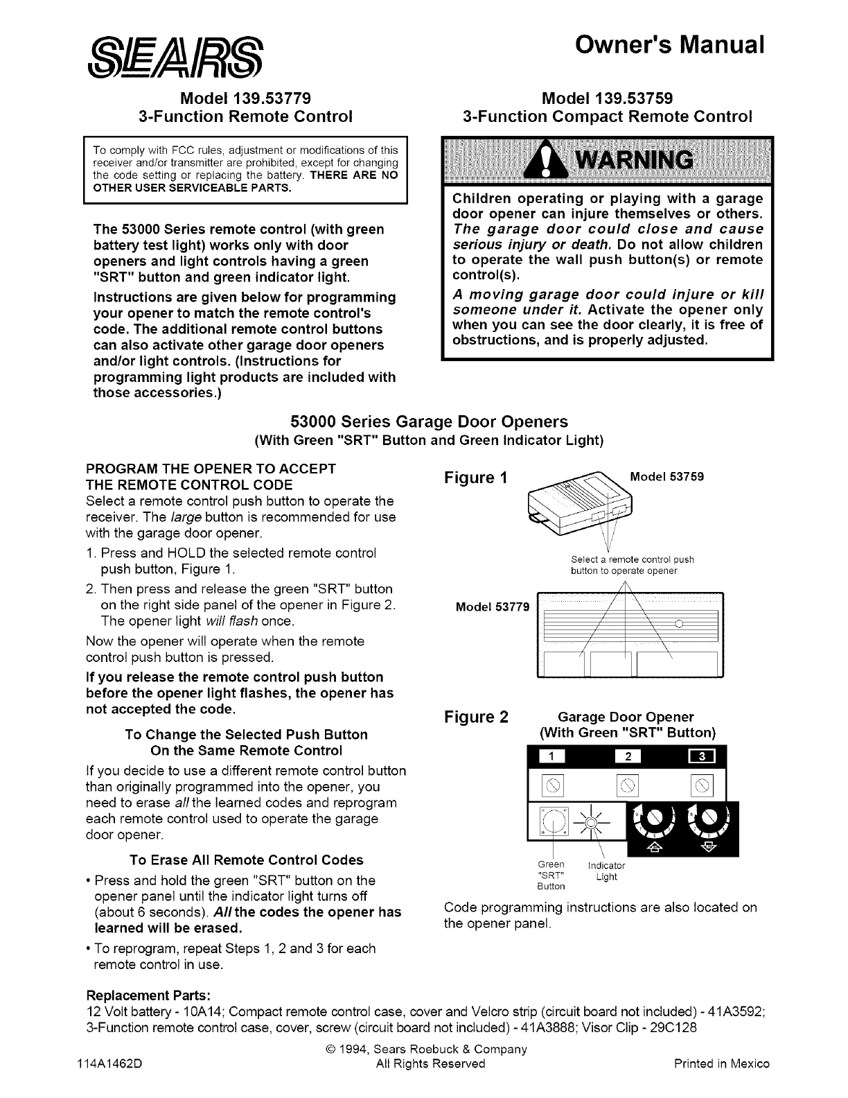 Sears Garage Door Opener 53000 User Guide Manualsonline