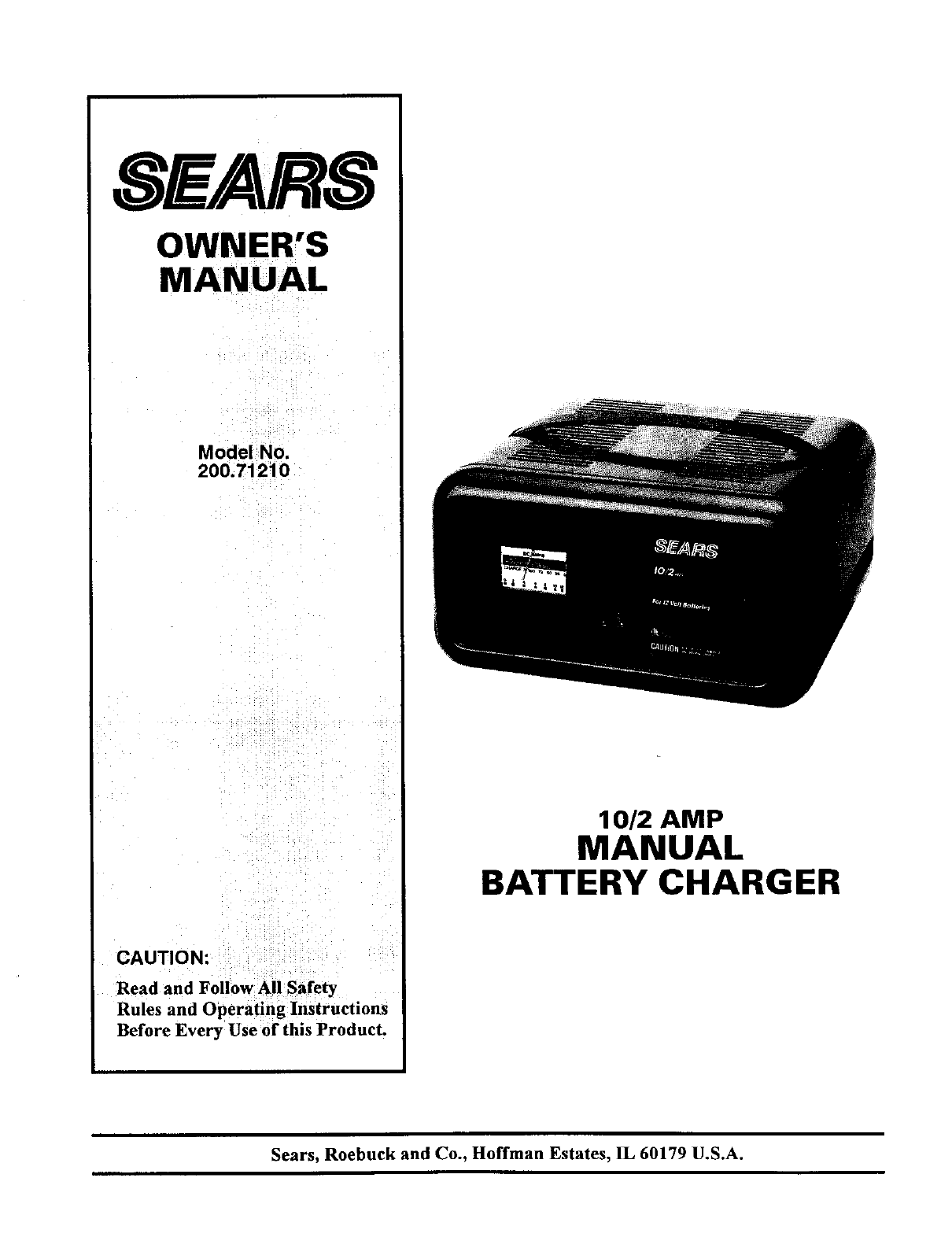 sears battery charger 200 7121 user guide manualsonline com sears manual battery charger 10 2 50 sears 1.5 amp manual battery charger