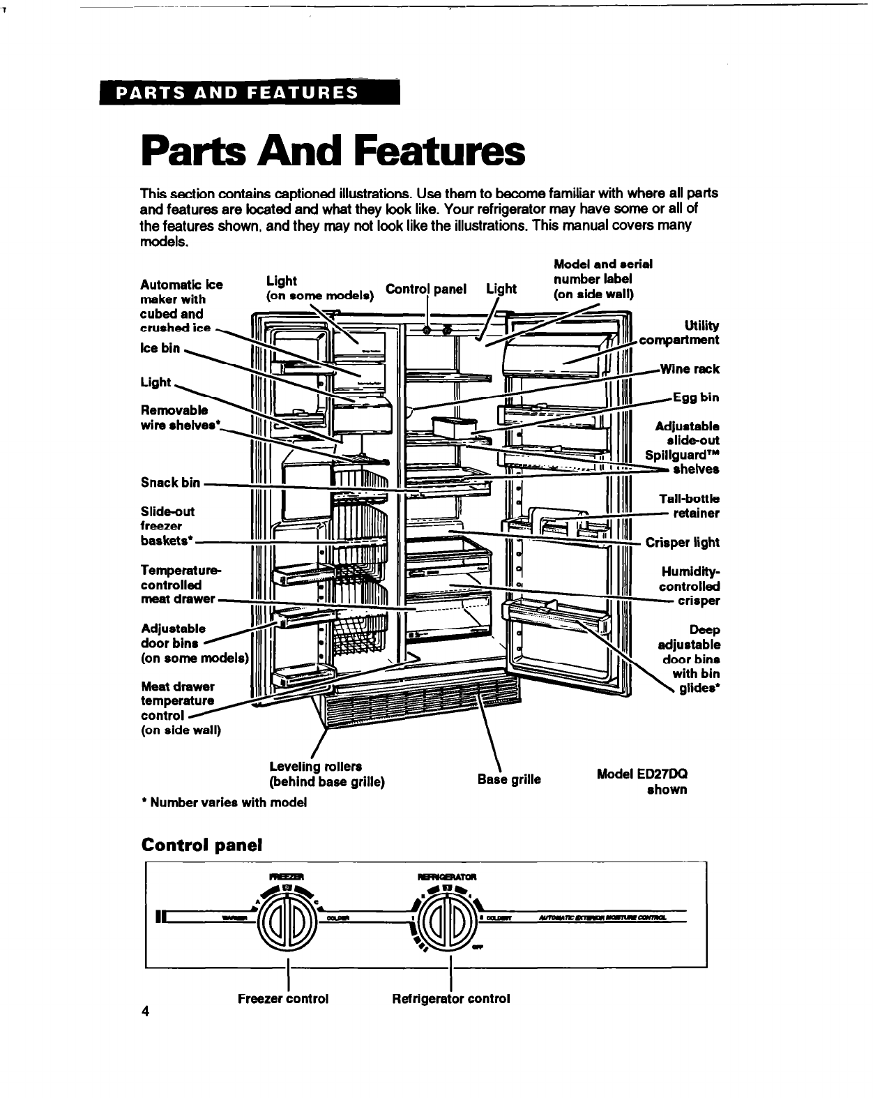page 4 of whirlpool refrigerator ed27dq user guide Whirlpool Refrigerator Parts Diagram Whirlpool Refrigerator Parts Diagram