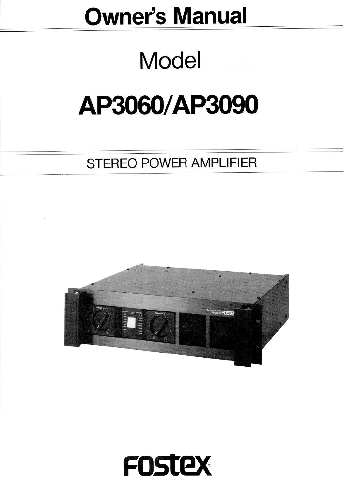 fostex stereo amplifier ap3060 user guide manualsonline com rh audio manualsonline com Fostex X15 Fostex Speakers Drivers