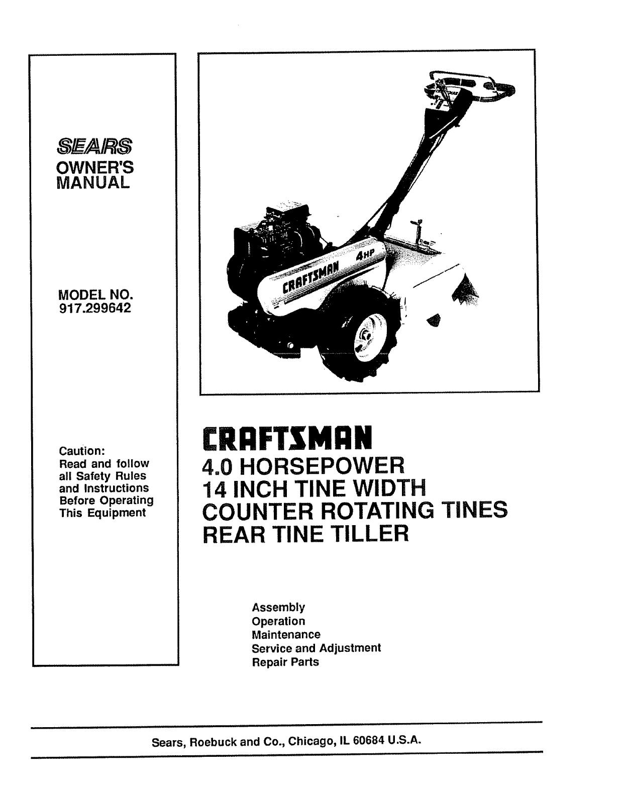 craftsman rear tine tiller repair manual