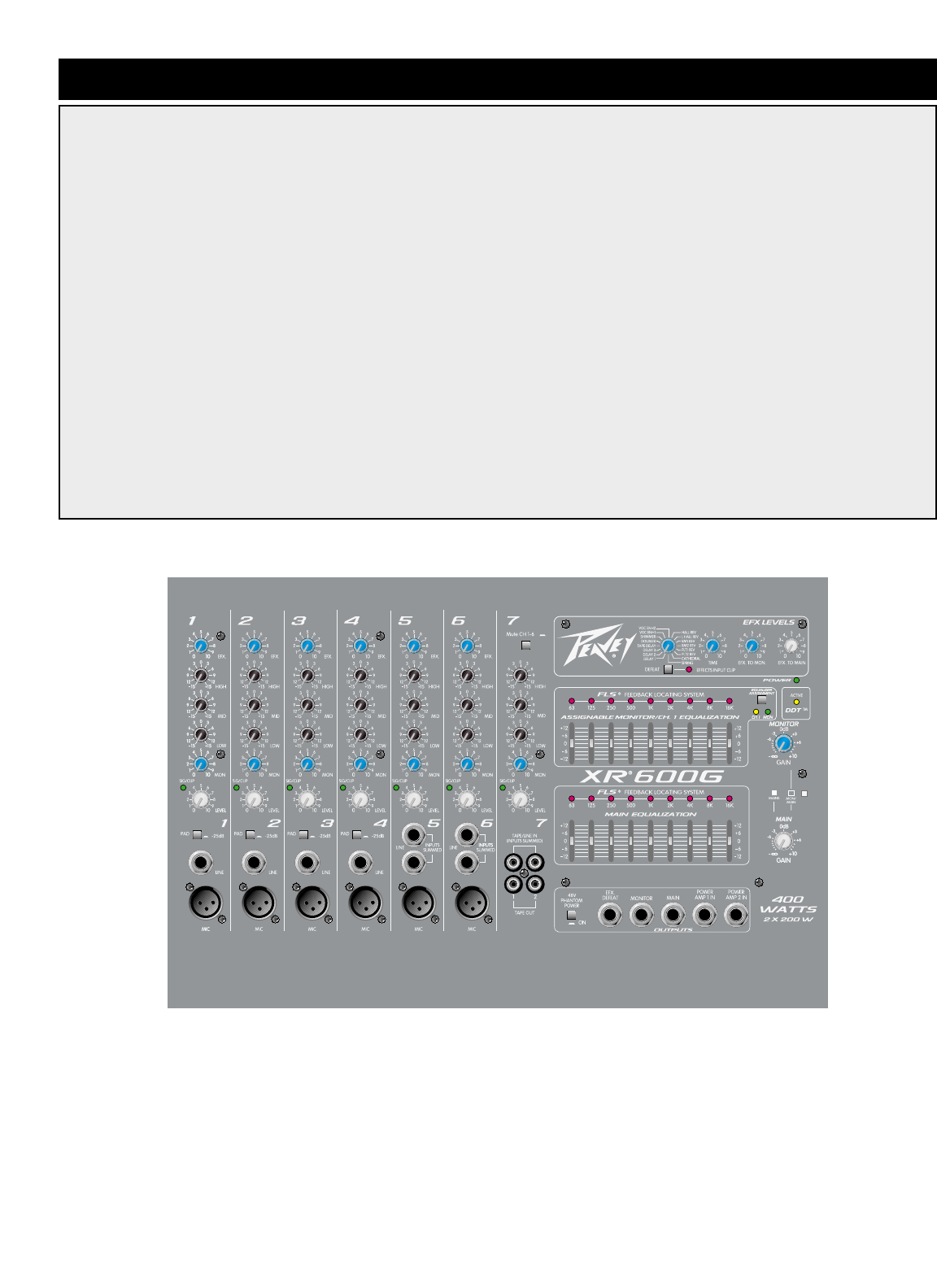 page 5 of peavey music mixer xr 600g user guide manualsonline com rh music manualsonline com