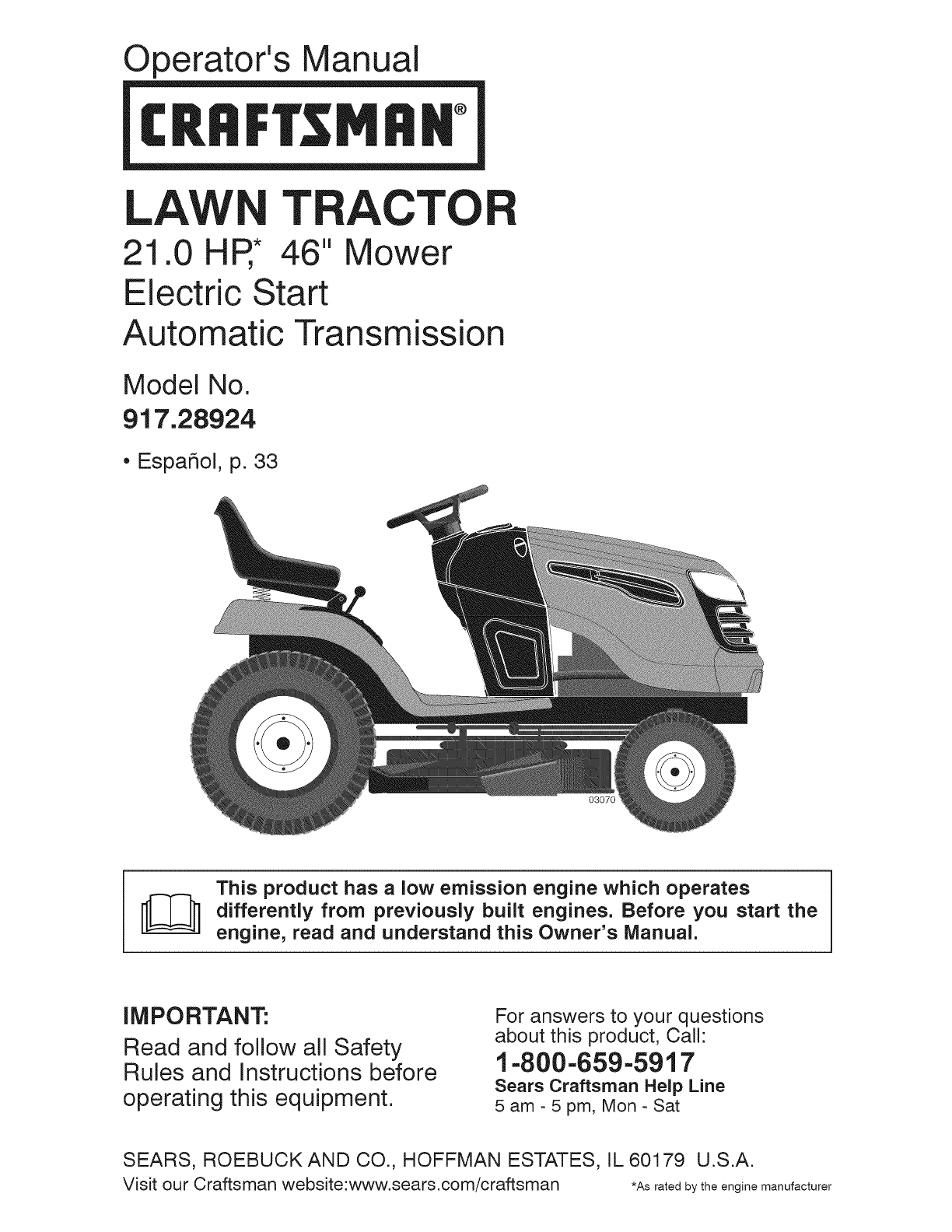 craftsman lawn mower 917 289240 user guide manualsonline com rh powertool manualsonline com sears riding mower manual 22 hp briggs sears riding mower manuals online