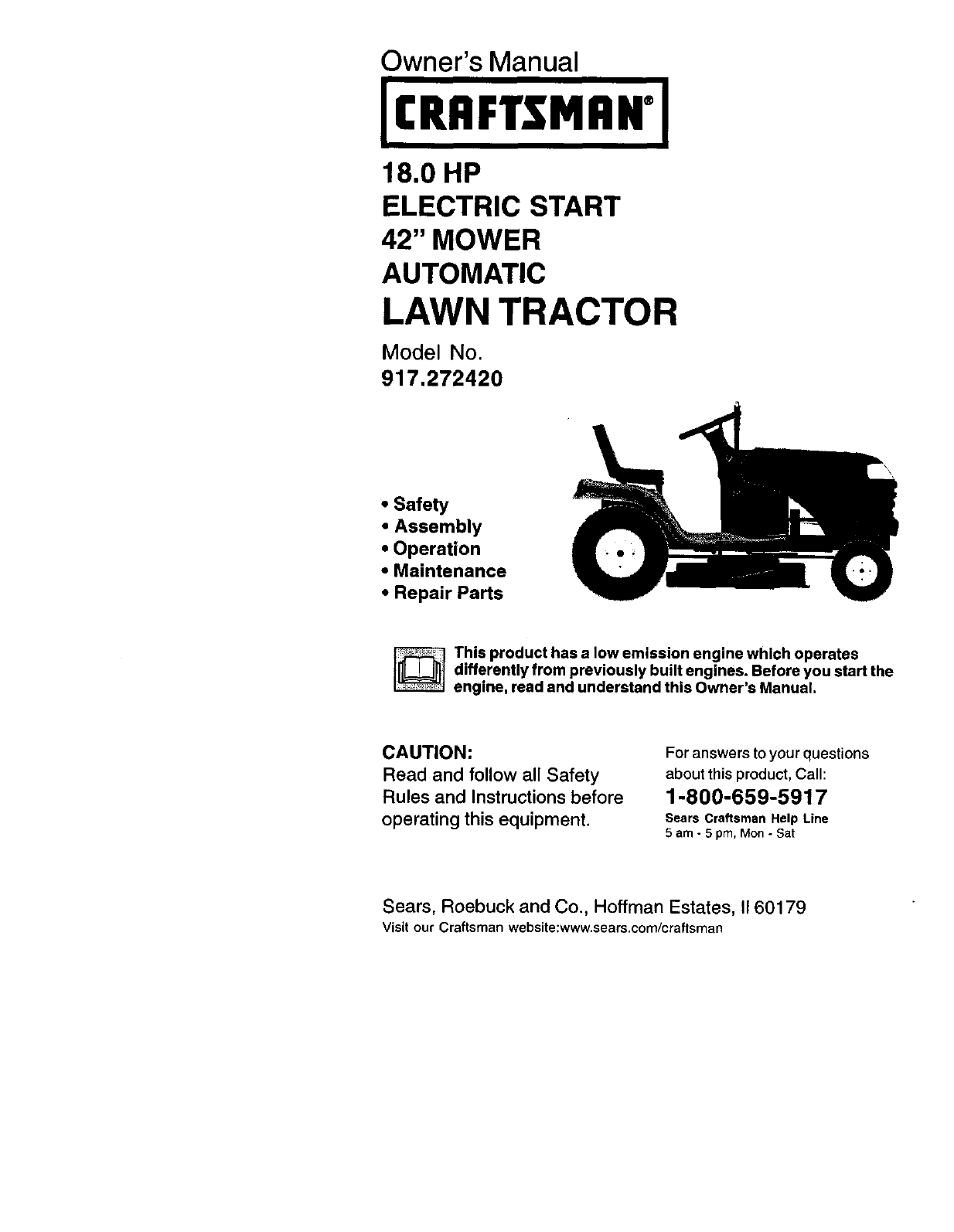 Craftsman Lawn Mower 91727242 User Guide 40 Hp Diagram And Parts List For All Owners Manual