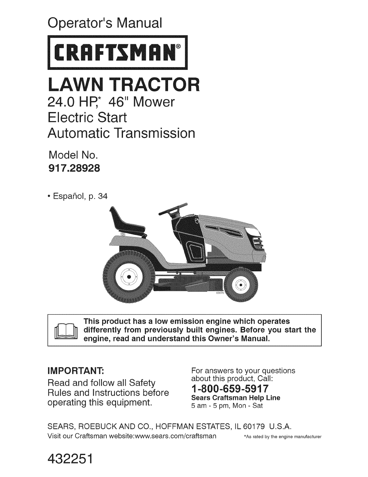 craftsman lawn mower 917 289283 user guide manualsonline com rh fitness manualsonline com manual for craftsman lawn tractor yt 45000 manual for craftsman lawn tractor lt2000