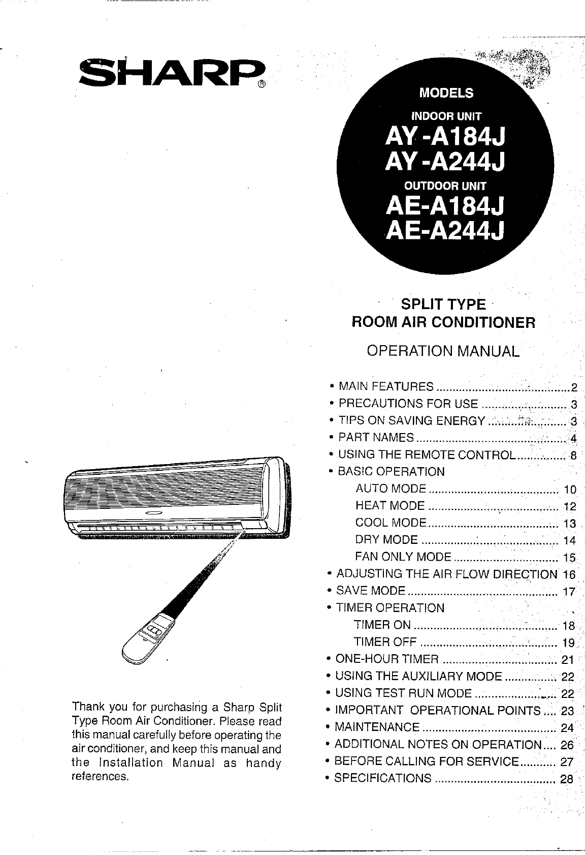 Sharp air conditioner ay a244j user guide manualsonline biocorpaavc Choice Image