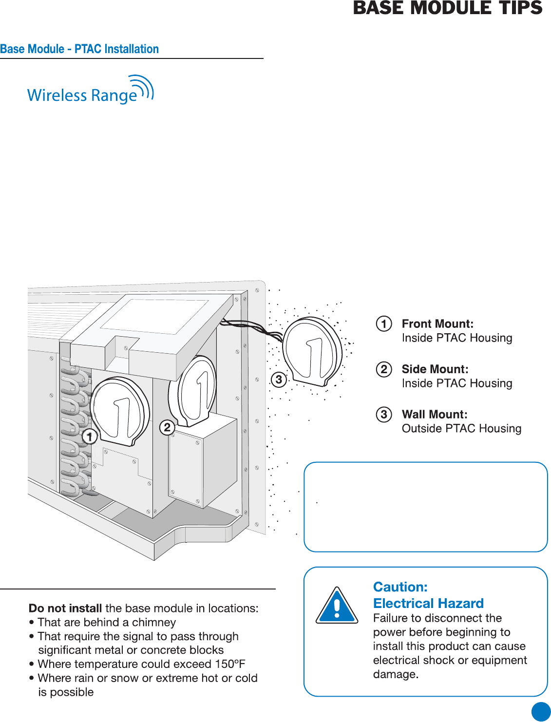 Page 5 Of Friedrich Thermostat Wrt1 User Guide Manualsonlinecom Ptac Wiring Diagram Range Between The And Base Module Is Up To 100 Feet With No Obstructions