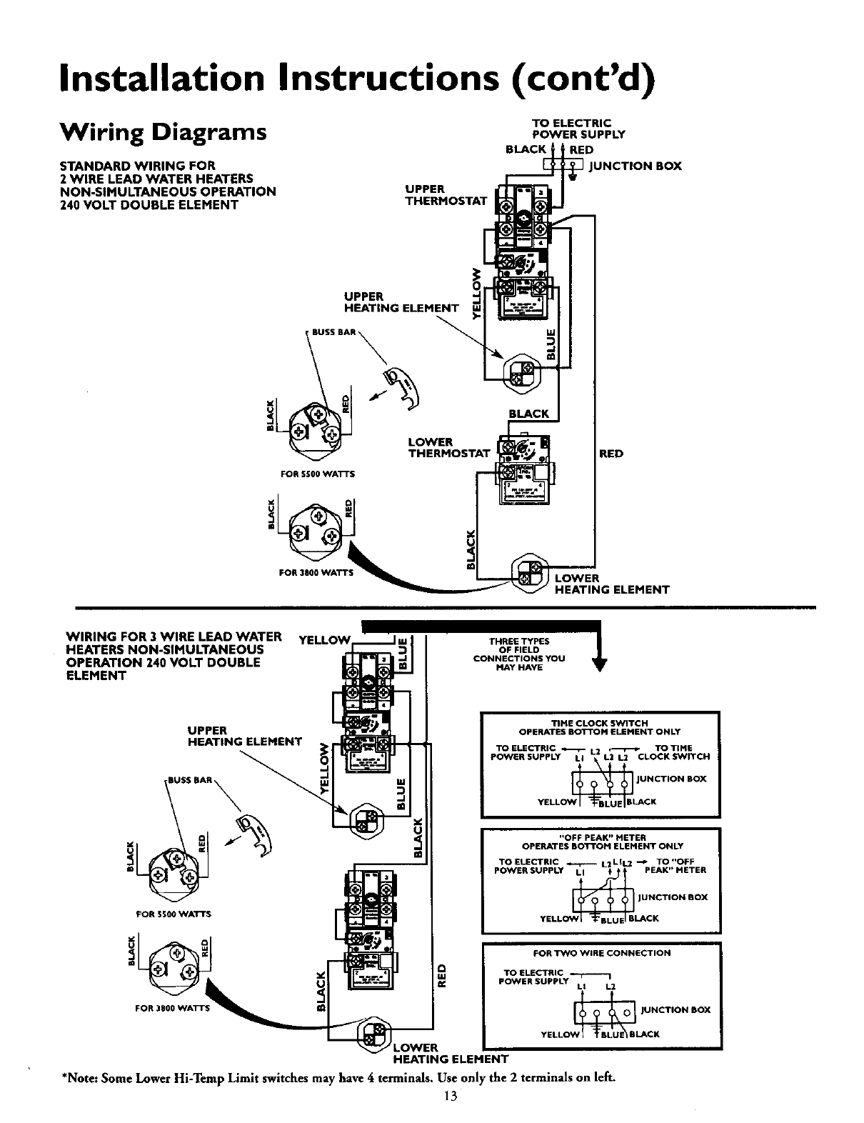 2wire junction box wiring page 13 of kenmore water heater 153 316455 user guide  page 13 of kenmore water heater 153 316455 user guide