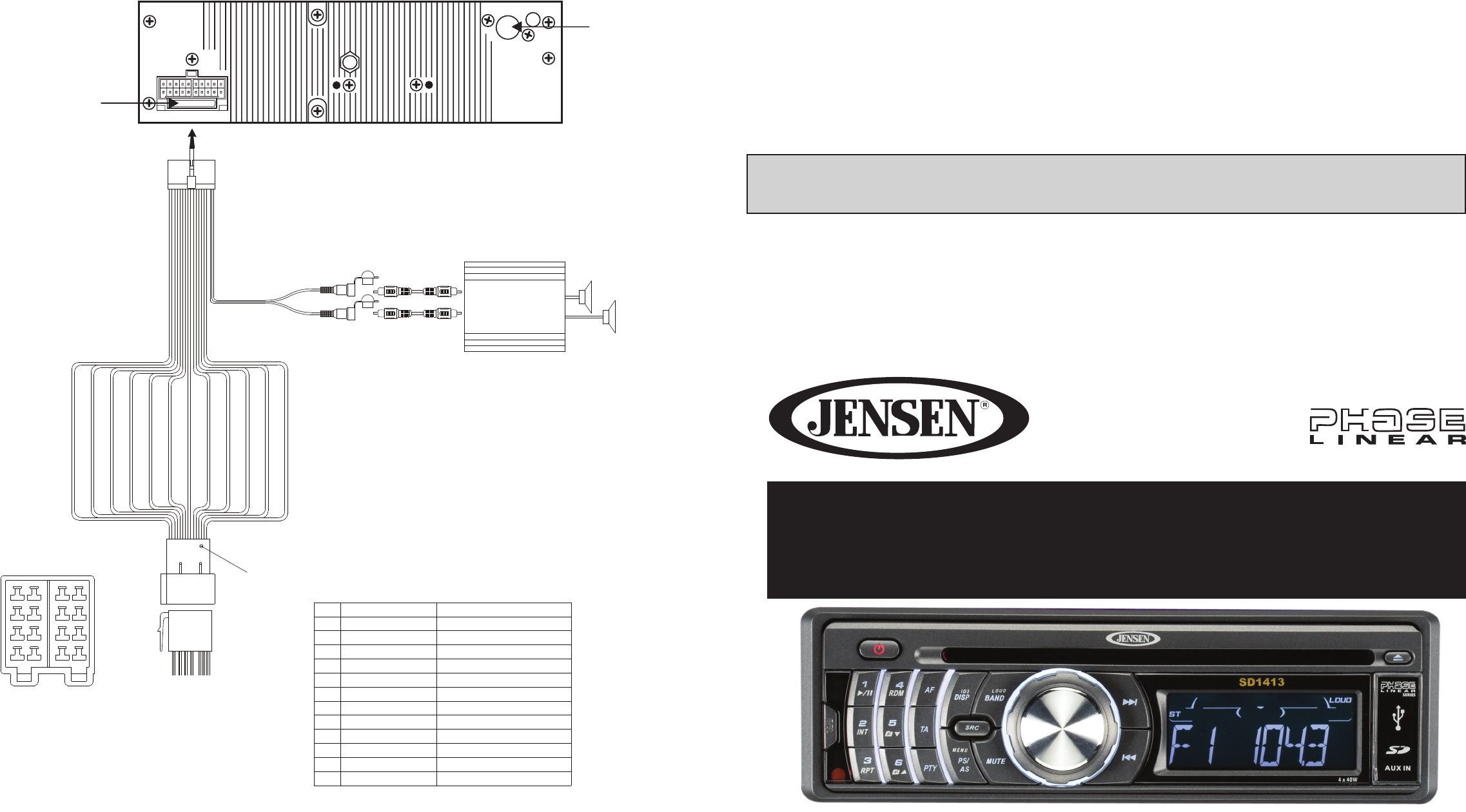 Jensen Car Stereo System Sd1413 User Guide Manualsonlinecom Uniden Marine Radio Wiring Diagram Manual