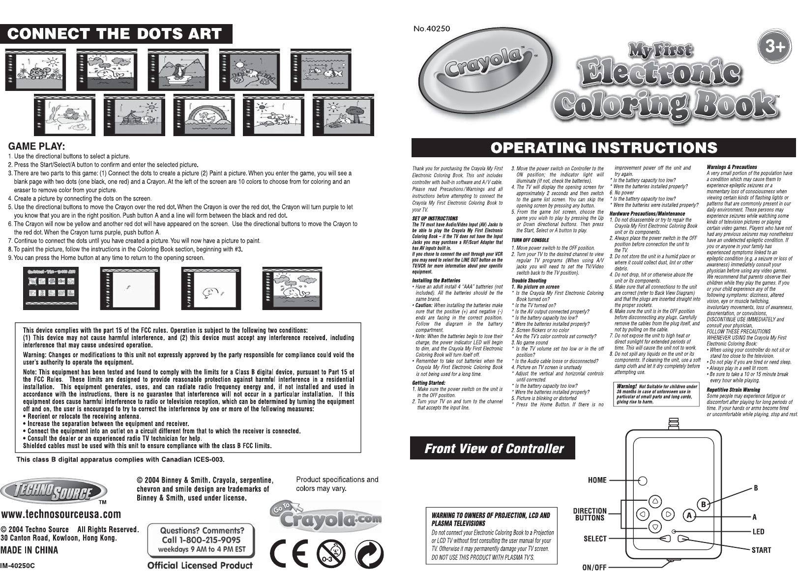 Coloring book with guide - Techno Source My First Electronic Coloring Book Handheld Game System User Manual