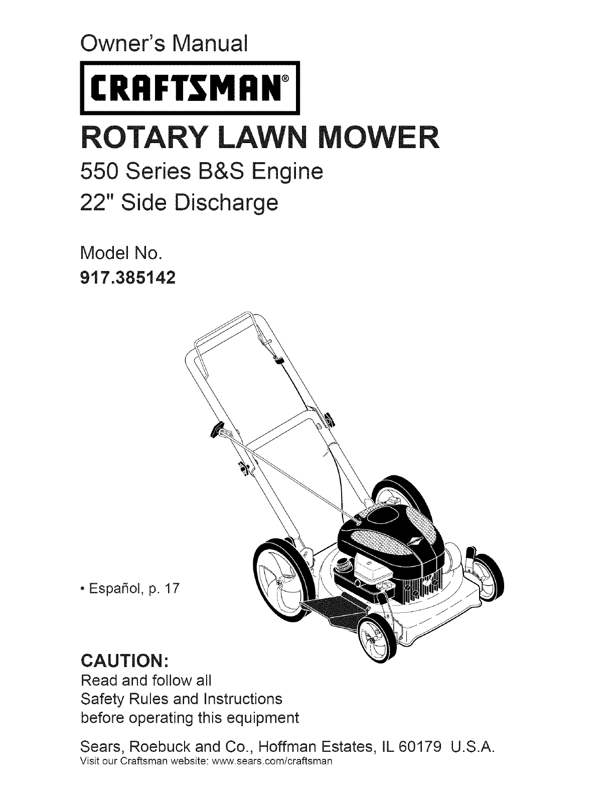 Craftsman Lawn Mower 917385142 User Guide 40 Hp Diagram And Parts List For All Owners Manual