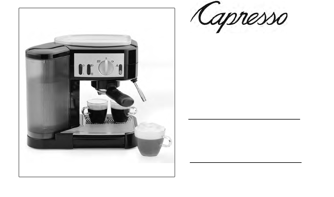 Capresso Coffee Maker Instructions : Capresso Espresso Maker 115 User Guide ManualsOnline.com