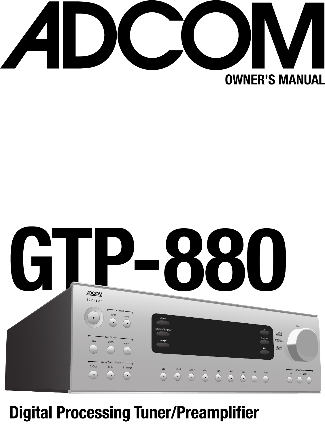 adcom home theater system gtp 880 user guide manualsonline com rh audio manualsonline com
