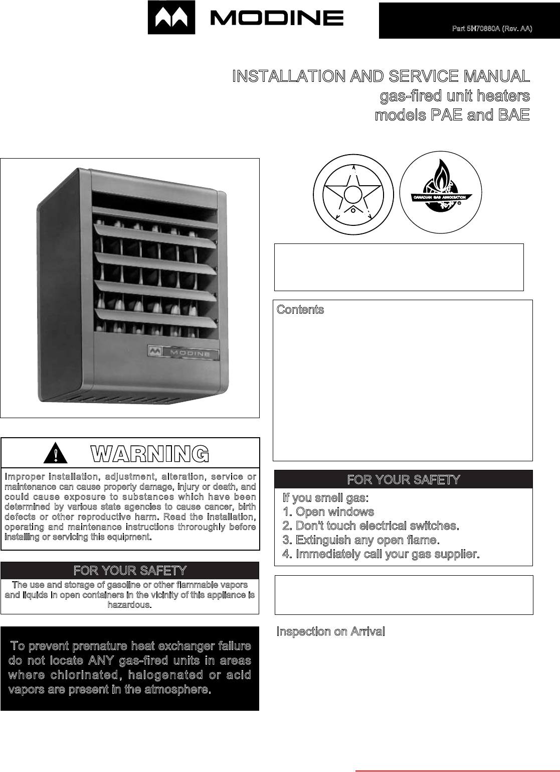 modine manufacturing gas heater pae user guide manualsonline