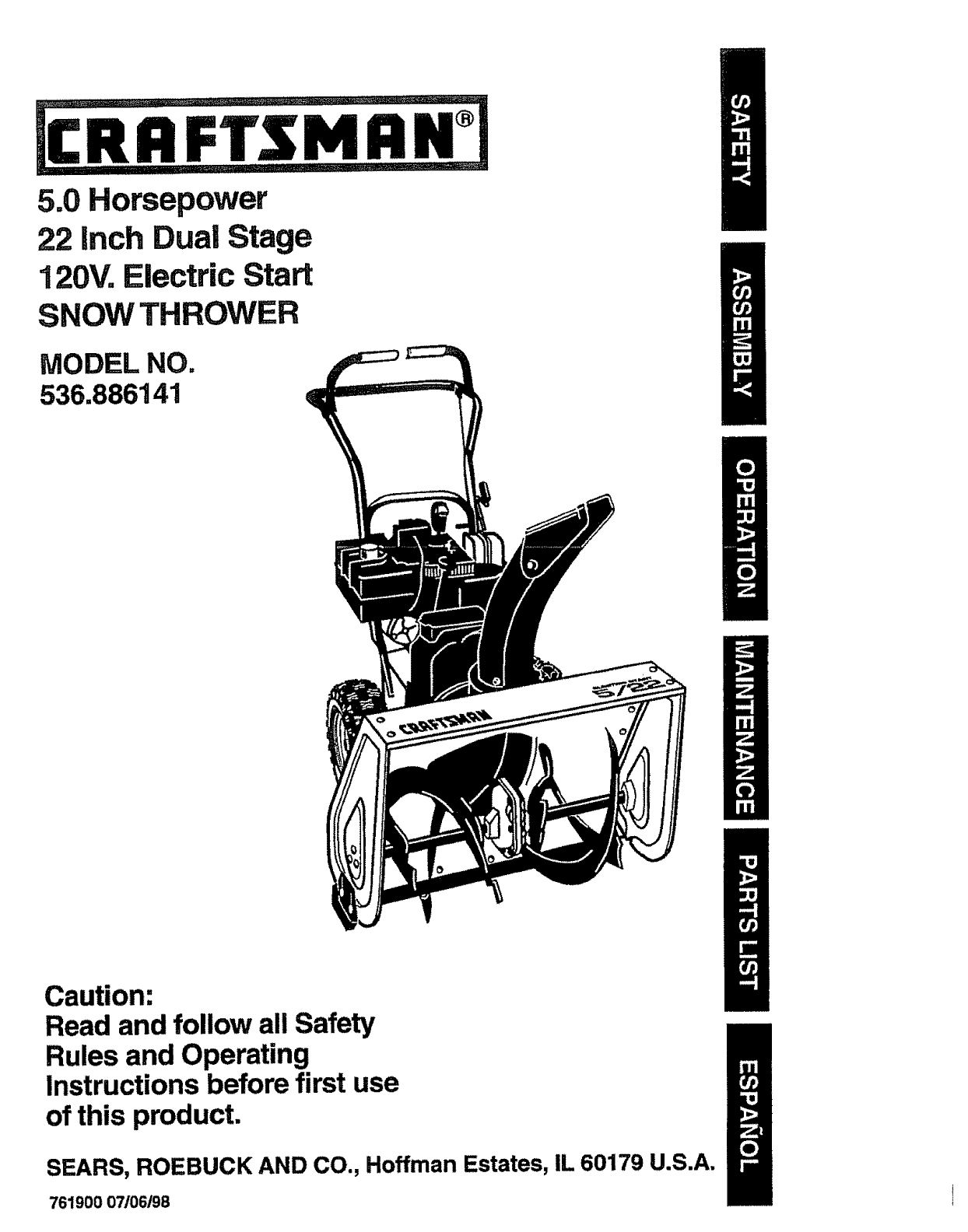 craftsman snow blower 536 886141 user guide manualsonline com rh lawnandgarden manualsonline com Craftsman 5 HP Snowblower Manual Craftsman 536 Snowblower Parts