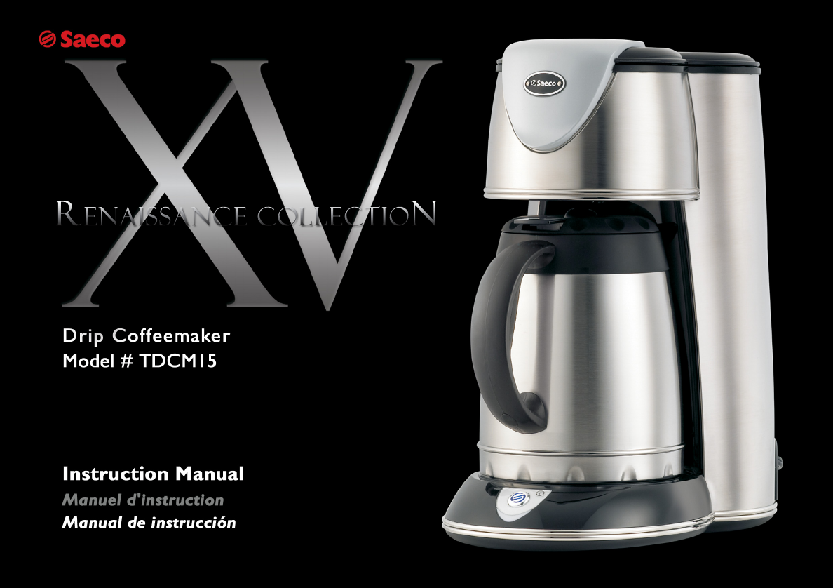 Saeco Coffee Maker Owner S Manual : Saeco Coffee Makers Coffeemaker TDCM15 User Guide ManualsOnline.com