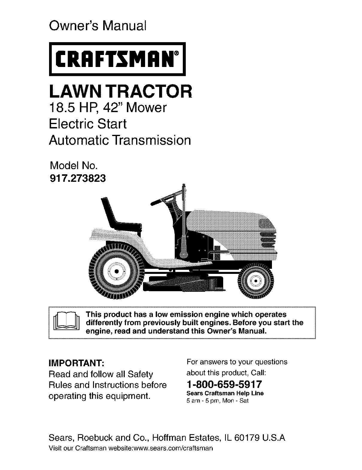 craftsman lawn mower 917 273823 user guide manualsonline com rh phone manualsonline com Craftsman GT6000 Garden Tractor Manual Sears Craftsman Garden Tractor Manual