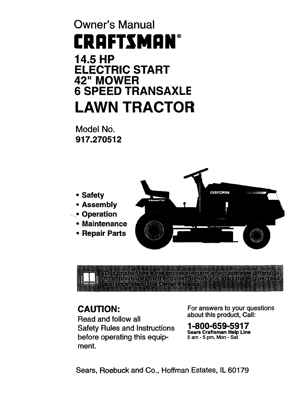 craftsman lawn mower 917 270512 user guide manualsonline com rh office manualsonline com sears craftsman riding mower parts canada sears craftsman riding mower parts canada