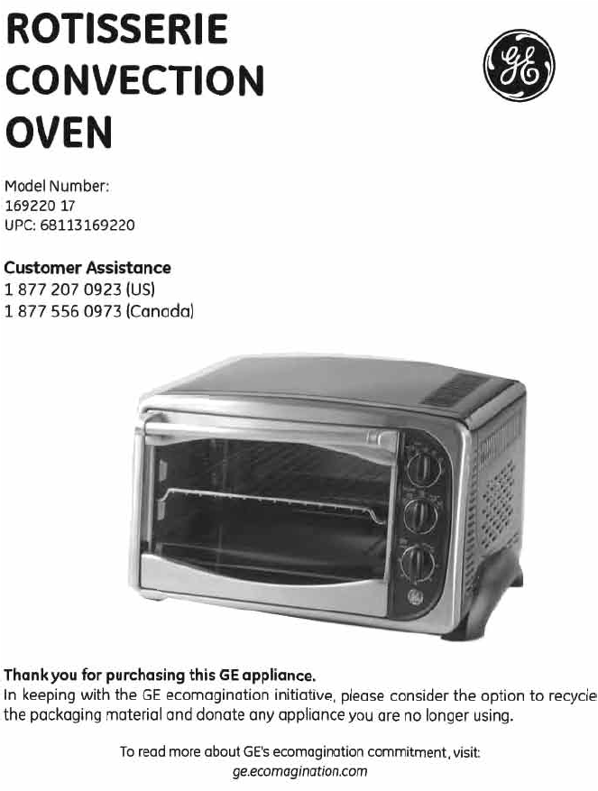 GE Convection Oven User Guide