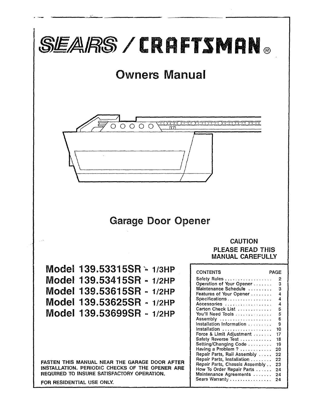 Craftsman garage door opener 13953315sr user guide craftsman garage door opener 13953315sr user guide manualsonline asfbconference2016 Images
