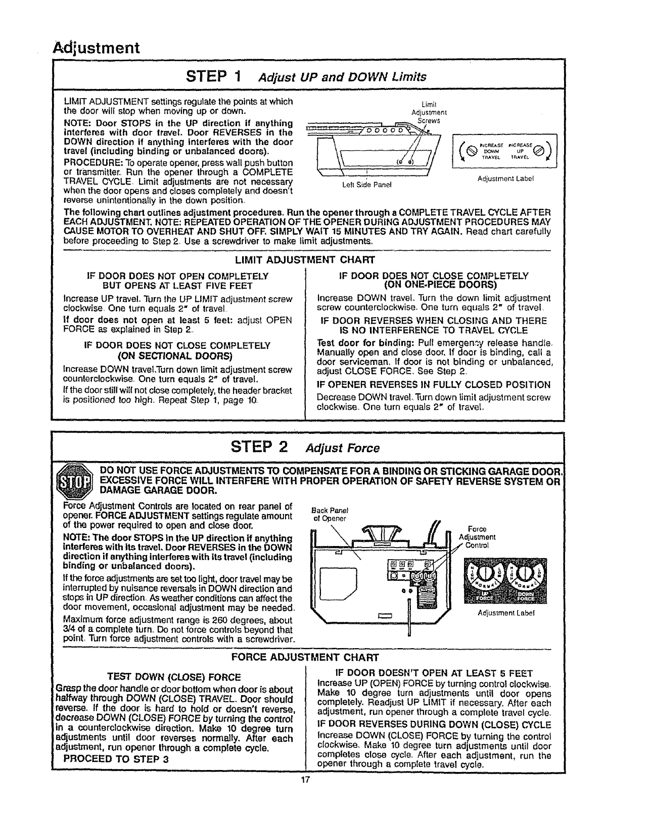 garage door will not closePage 17 of Craftsman Garage Door Opener 13953315SR User Guide
