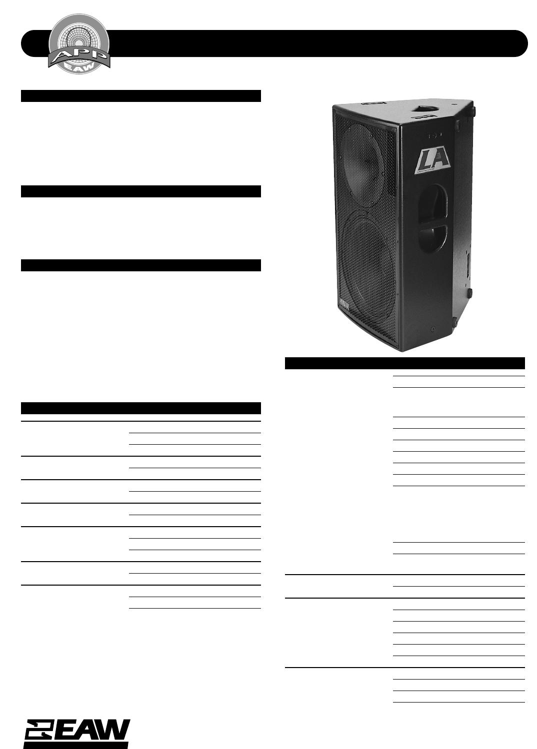 eaw speaker la215 user guide manualsonline com rh audio manualsonline com User Training Online User Guide