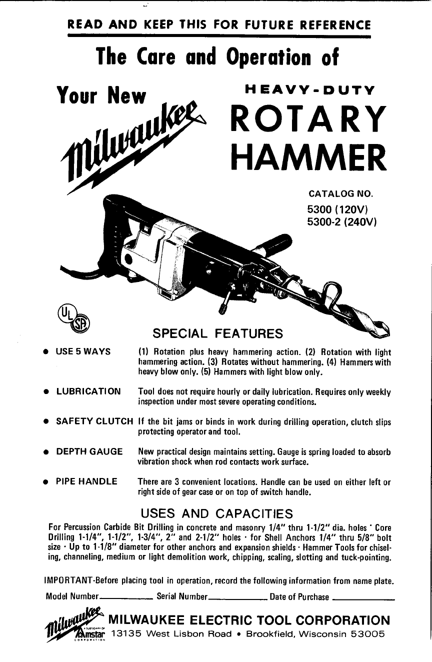 milwaukee power hammer 5300 120v user guide manualsonline com rh powertool manualsonline com iPad Manual User Manual Template