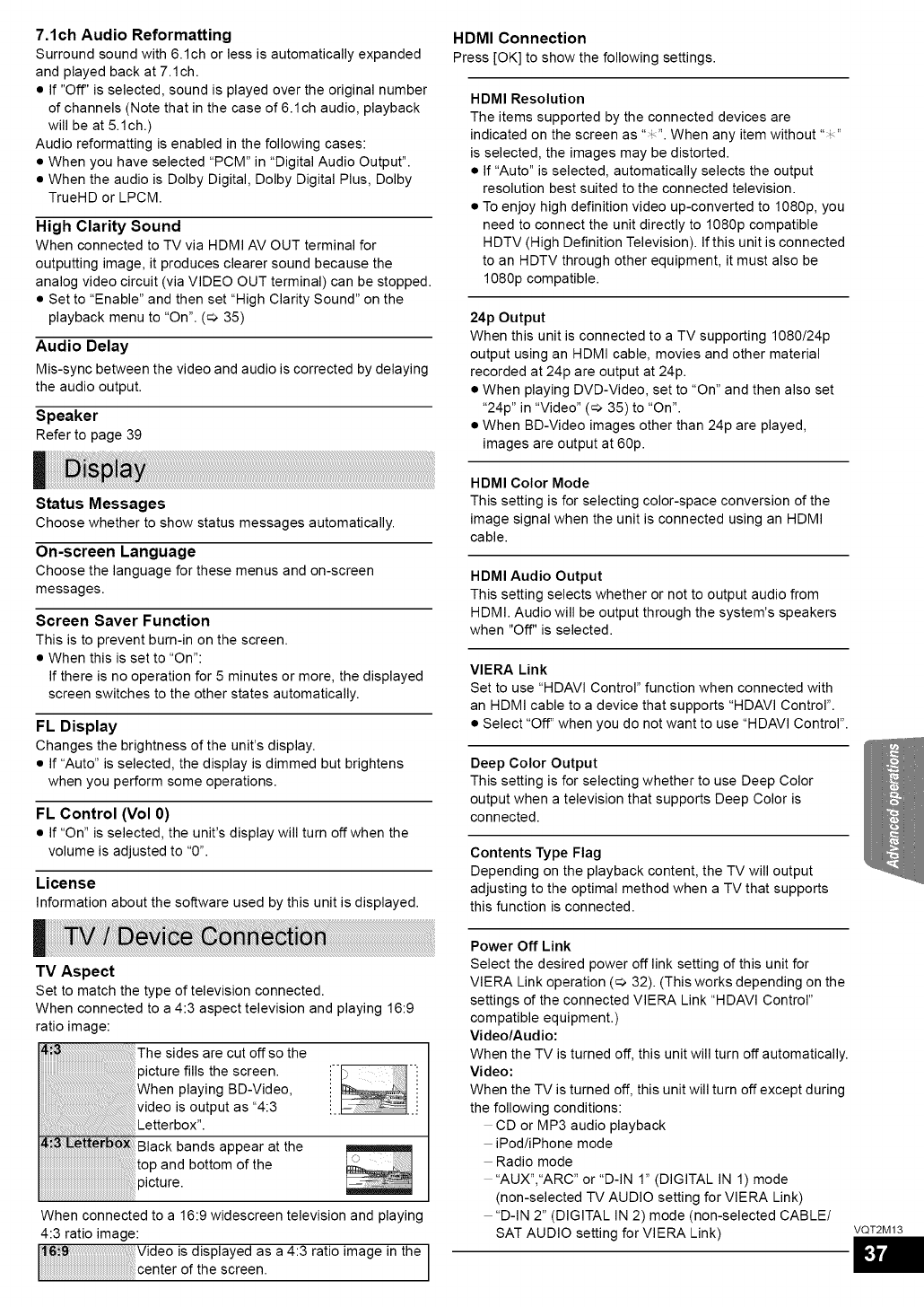 Page 37 of Panasonic Home Theater System SC-BT330 User Guide