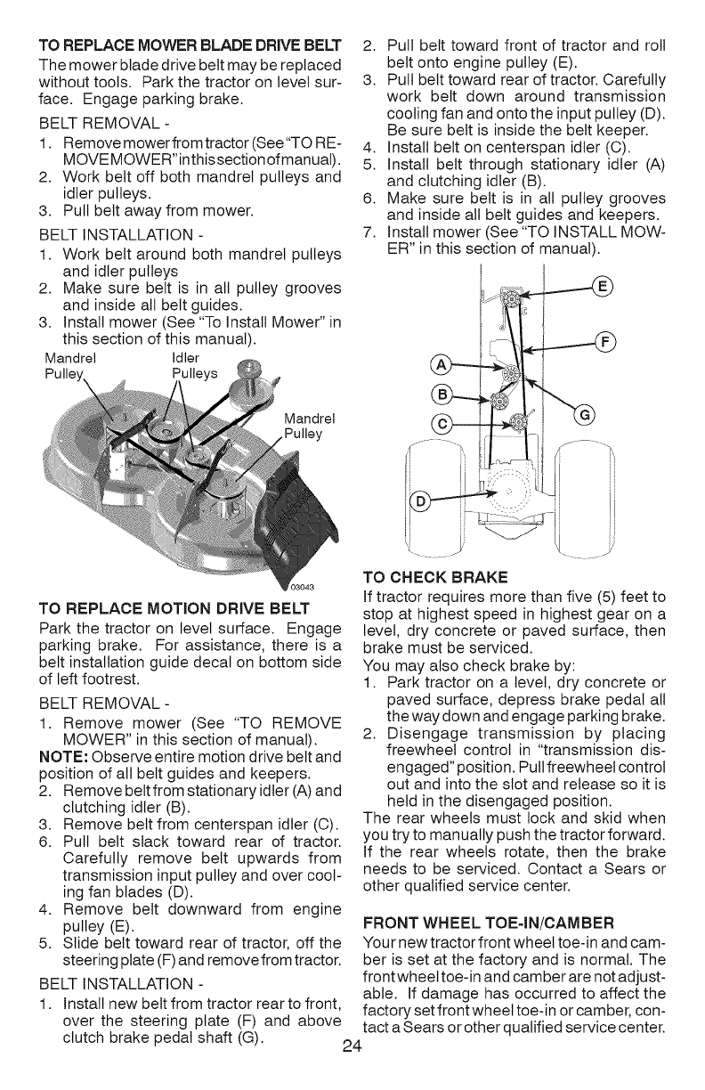 Deck Blades Pulleys And Cutter Belt Manual Guide