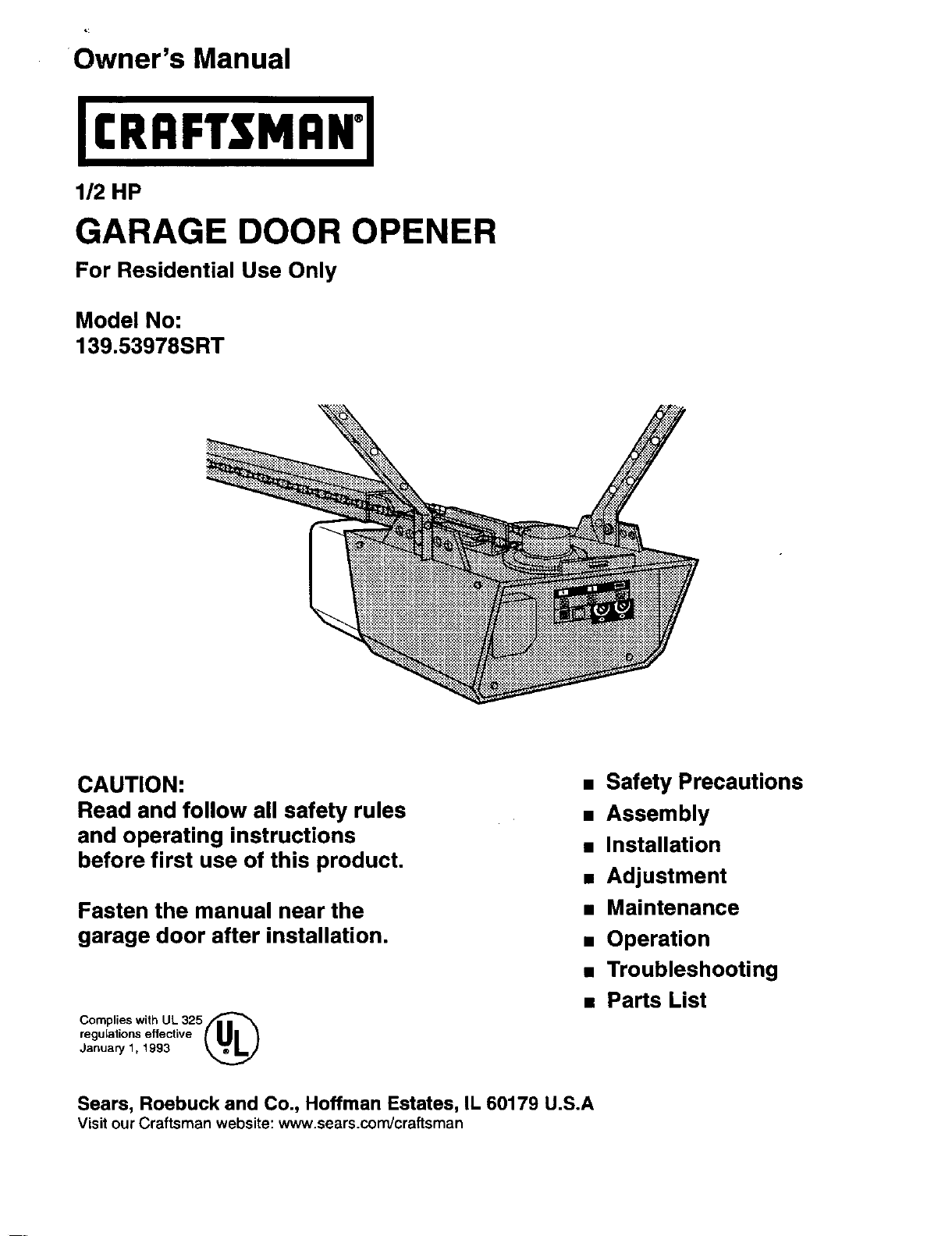 Craftsman Garage Door Opener 139 53978srt User Guide