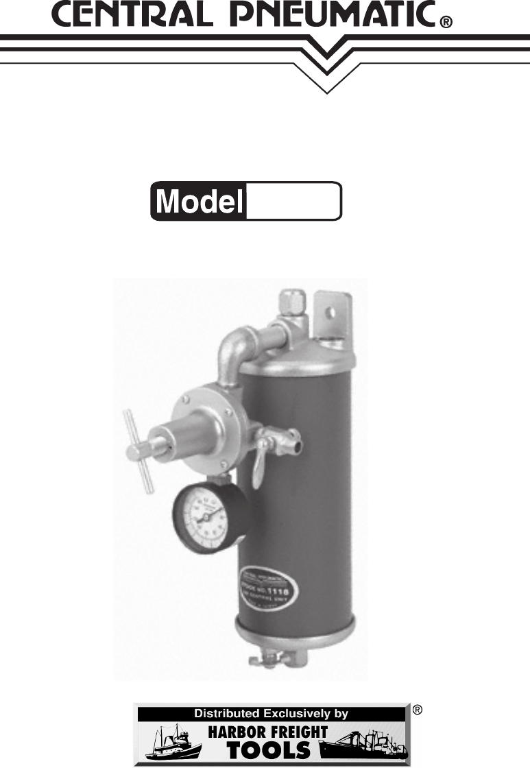 AIR FILTER / REGULATOR. ASSEMBLY AND OPERATING INSTRUCTIONS