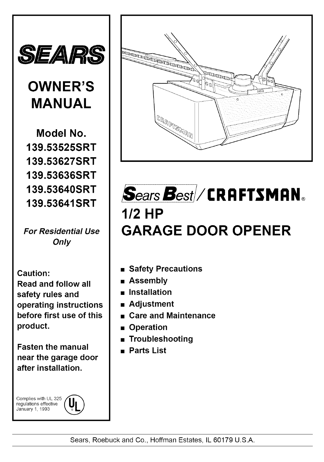 Sears Garage Door Opener 13953640srt User Guide Manualsonline