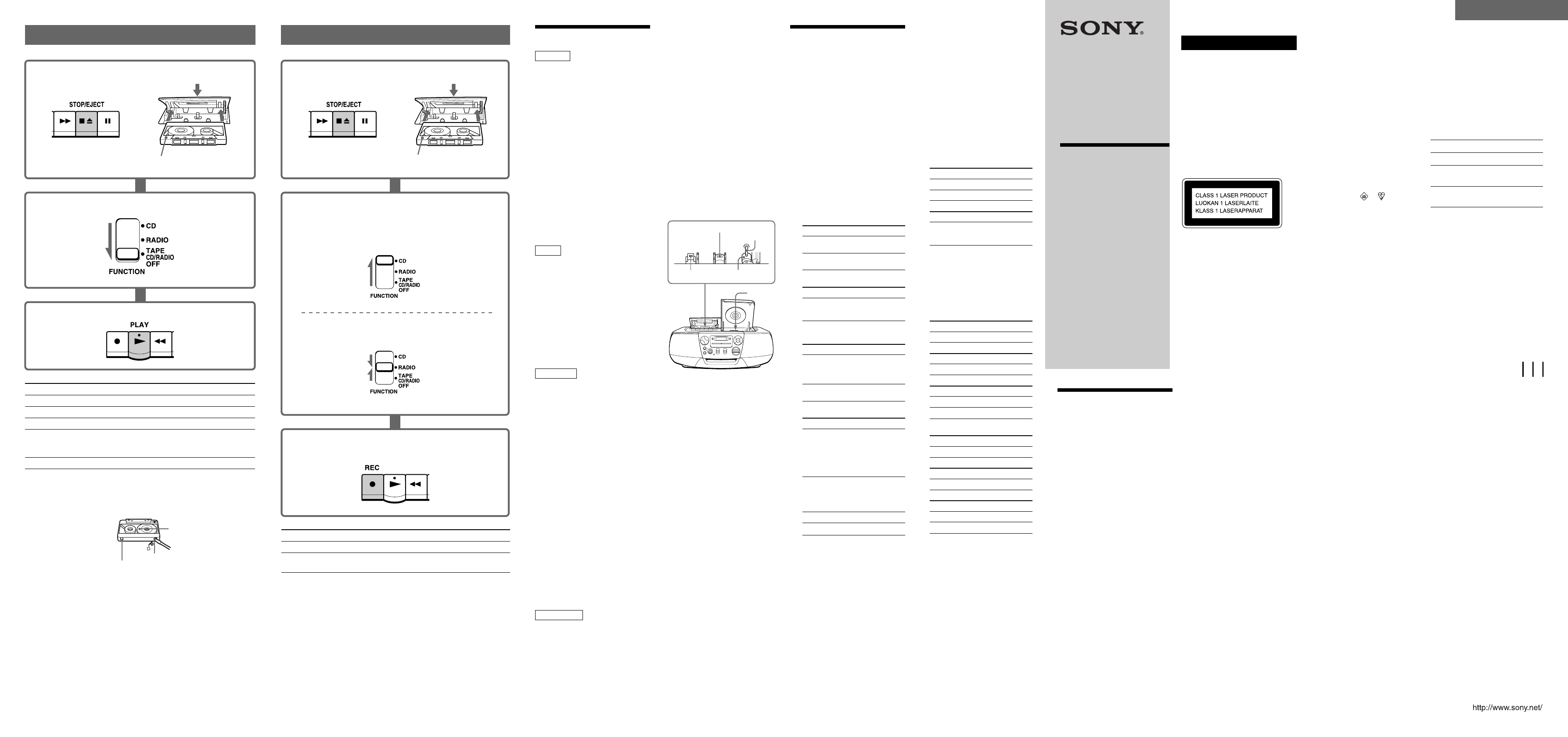 Sony CFD-V31L Portable CD Player User Manual
