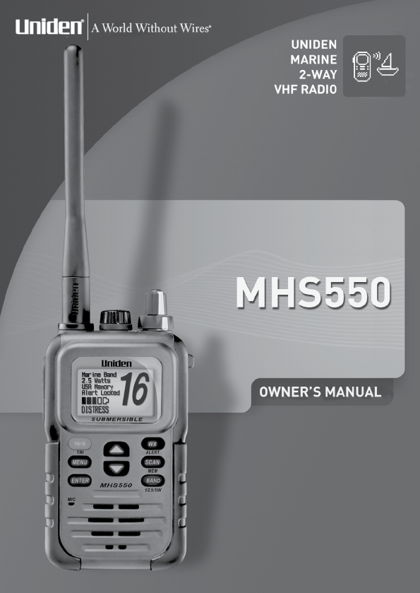 uniden two way radio mhs550 user guide manualsonline com rh phone manualsonline com uniden mc 610 marine radio manual uniden solara dsc marine radio manual