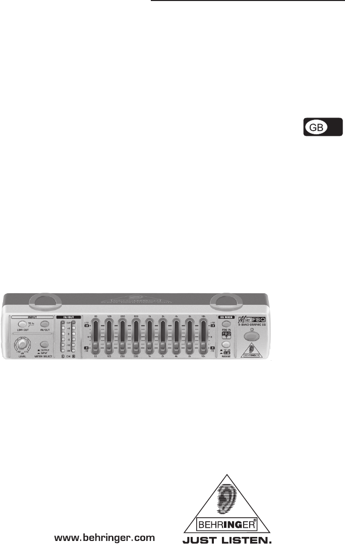 Behringer MiniFBQ FBQ800 Stereo Equalizer User Manual