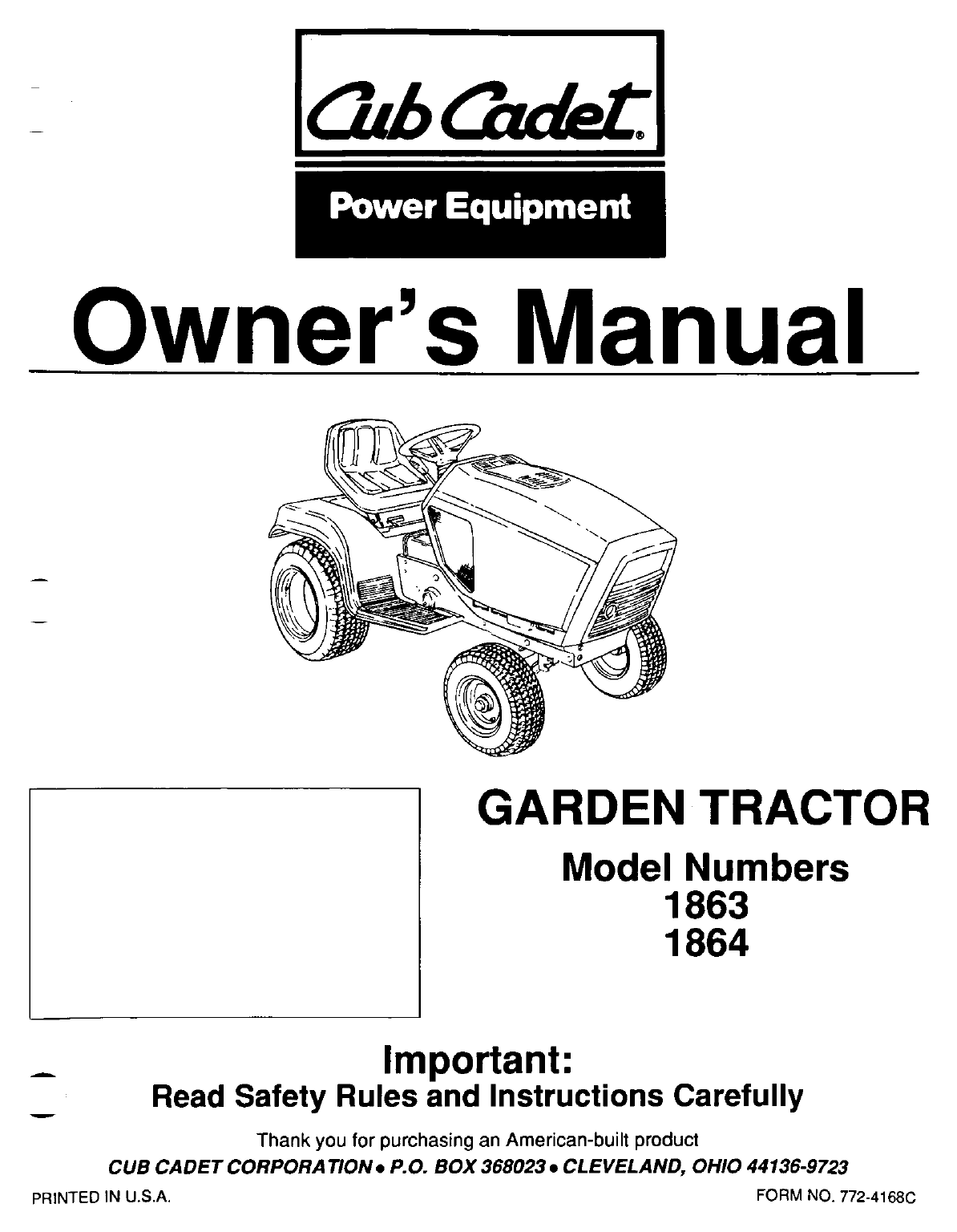 Cub Cadet Lawn Mower 1864 User Guide