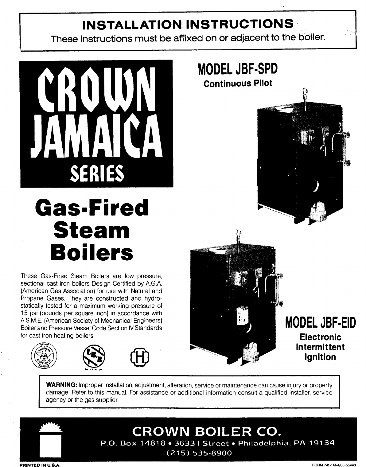 Crown Boiler Boiler JBFSPD User Guide ManualsOnlinecom