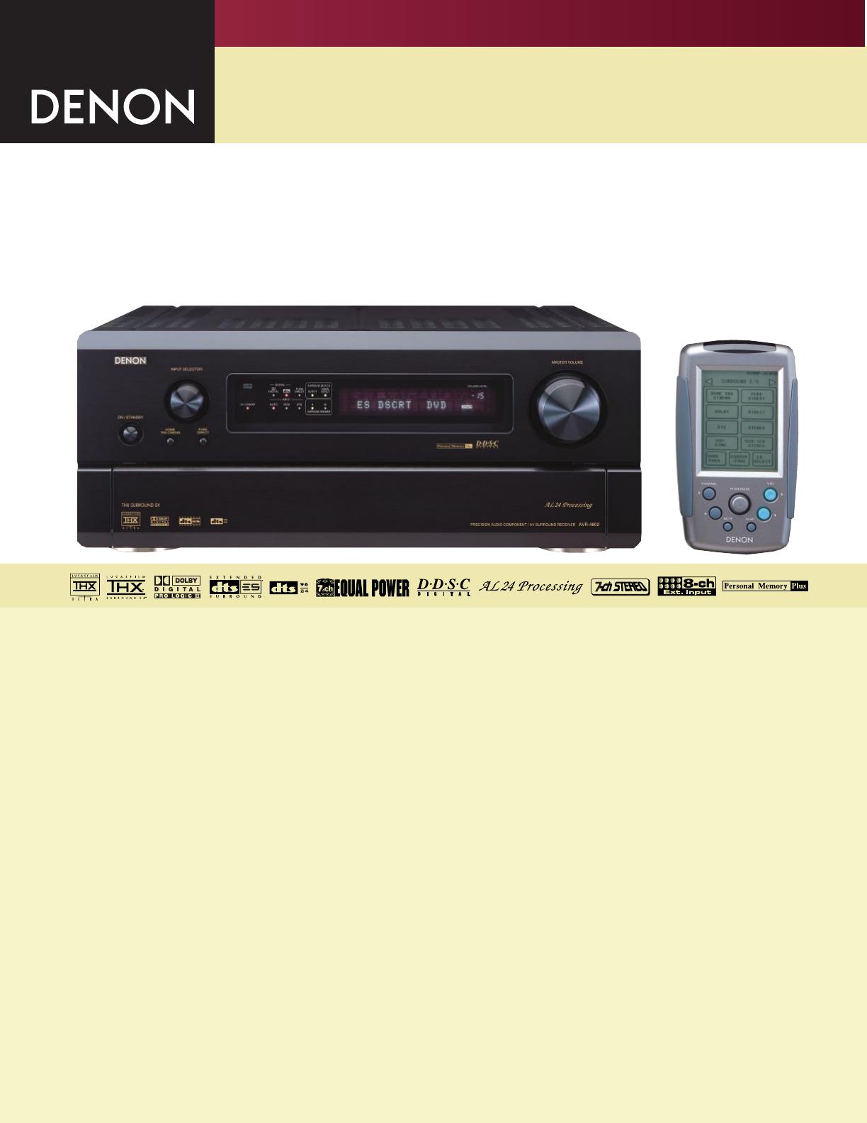 denon stereo system avr 4802 user guide manualsonline com rh audio manualsonline com Denon 5 1 Denon 5 1