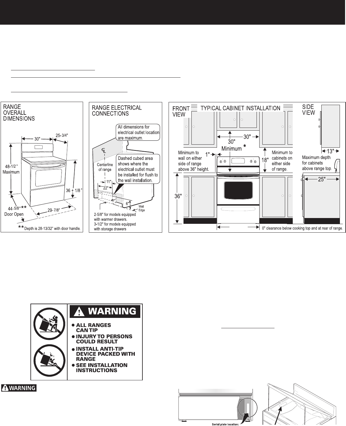 Kitchen Stove Installation Guide: Frigidaire Range 316454905 User Guide