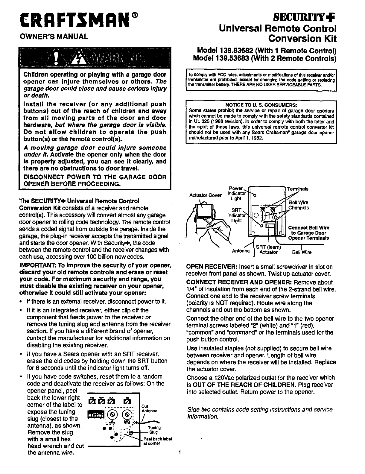 Elegant Craftsman 139.53682 Garage Door Opener User Manual